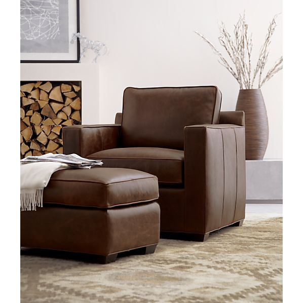 Davis leather ottoman crate and barrel for Crate and barrel pouf