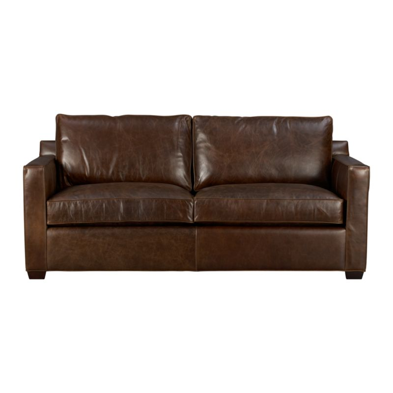 "Davis is a contemporary compact leather sofa-sleeper designed for contemporary real life. Coming in at just six-and-a-half feet wide but a full three feet deep, it sits big in small spaces. Pair it with its companion stand-alone or sectional pieces in a full-grain aniline dyed leather, all with firm but plump support. Natural markings and an innovative tannage technique highlight the leather's natural tones and rich character. Understated hardwood legs have a rich hickory stain.<br /><br />After you place your order, we will send a leather swatch via next day air for your final approval. We will contact you to verify both your receipt and approval of the leather swatch before finalizing your order.<br /><br /><NEWTAG/><ul><li>Eco-friendly construction</li><li>Certified kiln-dried hardwood frame</li><li>Seat cushions are multilayer soy- or plant-based polyfoam wrapped in fiber down blend encased in ticking</li><li>5.5"" bi-fold innerspring mattress</li><li>Back cushions are fiber encased in ticking</li><li>Self-welt detail</li><li>Low-profile tilt head rest</li><li>Upholstered in full-grain aniline dyed leather</li><li>Benchmade</li><li>See additional frame options below</li><li>Made in North Carolina, USA</li></ul>"