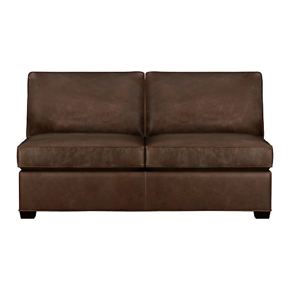 davis leather armless sleeper sofa cashew crate and barrel