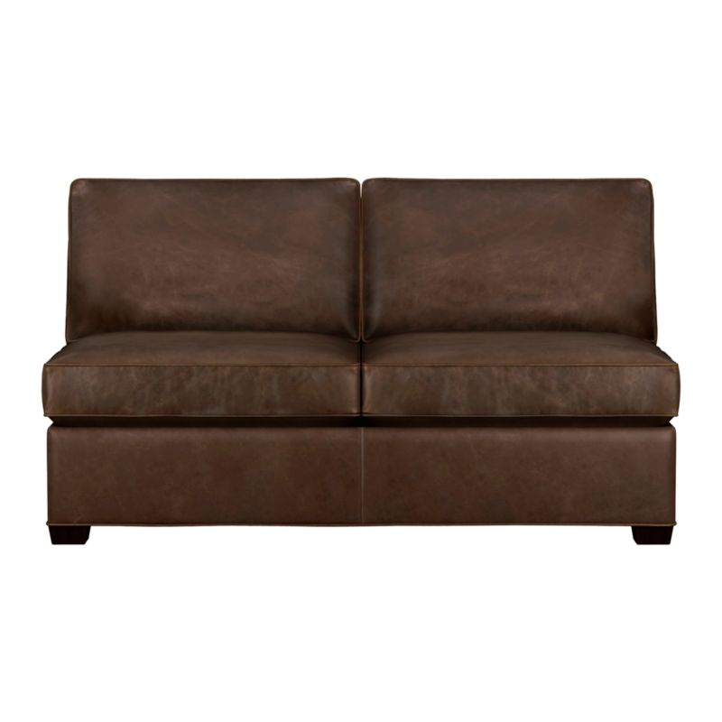 Davis is a contemporary compact leather sectional designed for contemporary real life. Every imaginable configuration is possible between these modular pieces and the companion stand-alone pieces in a full-grain aniline dyed leather, all with firm but plump support. Natural markings and an innovative tannage technique highlight the leather's natural tones and rich character. Understated hardwood legs have a rich hickory stain. Sofa group also available.<br /><br />After you place your order, we will send a leather swatch via next day air for your final approval. We will contact you to verify both your receipt and approval of the leather swatch before finalizing your order.<br /><br /><NEWTAG/><ul><li>Eco-friendly construction</li><li>Certified kiln-dried hardwood frame</li><li>Seat cushions are multilayer soy- or plant-based polyfoam wrapped in fiber down blend en