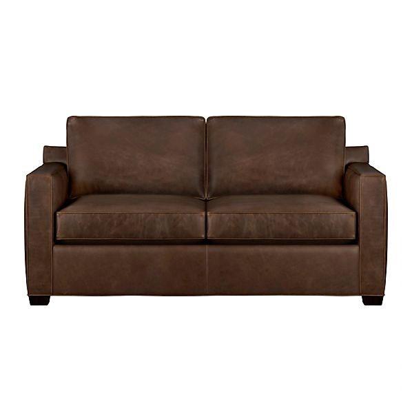 Davis leather full sleeper sofa cashew crate and barrel for Crate and barrel sofa