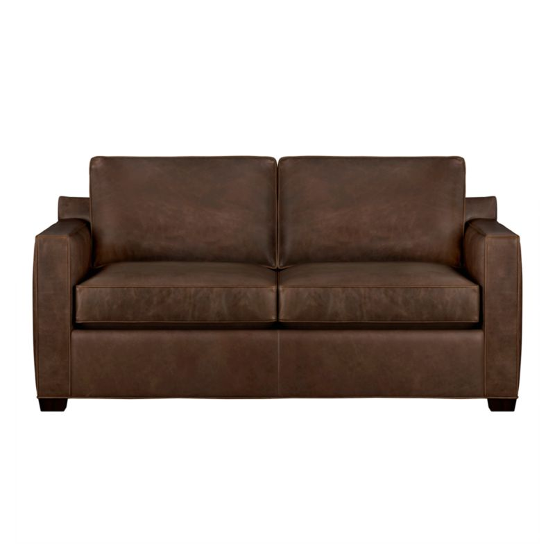 Davis is a contemporary compact leather sofa designed for contemporary real life. Pair it with its companion stand-alone or sectional pieces in a full-grain aniline dyed leather, all with firm but plump support. Natural markings and an innovative tannage technique highlight the leather's natural tones and rich character. Understated hardwood legs have a rich hickory stain.<br /><br />After you place your order, we will send a leather swatch via next day air for your final approval. We will contact you to verify both your receipt and approval of the leather swatch before finalizing your order.<br /><br /><NEWTAG/><ul><li>Eco-friendly construction</li><li>Certified kiln-dried hardwood frame</li><li>Seat cushions are multilayer soy- or plant-based polyfoam wrapped in fiber down blend encased in ticking</li><li>Flexolator spr