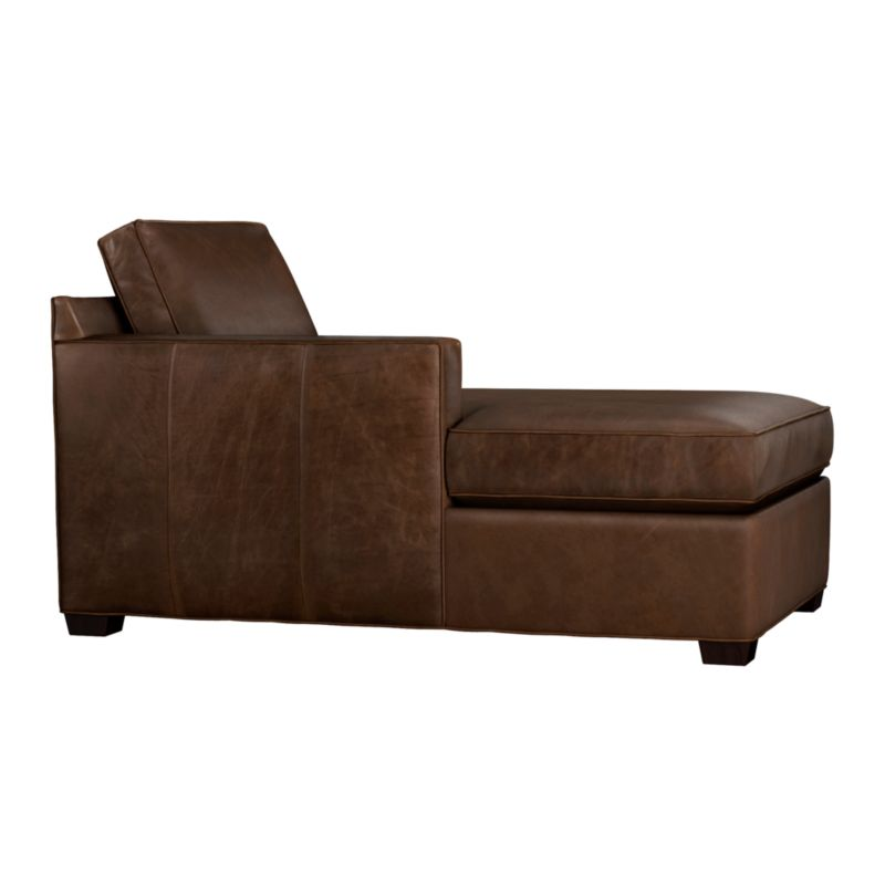 Davis is a contemporary compact leather sectional designed for contemporary real life. Every imaginable configuration is possible between these modular pieces and the companion stand-alone pieces in a full-grain aniline dyed leather, all with firm but plump support. Natural markings and an innovative tannage technique highlight the leather's natural tones and rich character. Understated hardwood legs have a rich hickory stain. Sofa group also available.<br /><br />After you place your order, we will send a leather swatch via next day air for your final approval. We will contact you to verify both your receipt and approval of the leather swatch before finalizing your order.<br /><br /><NEWTAG/><ul><li>Certified kiln-dried hardwood frame</li><li>Flexolator spring suspension</li><li>Multilayer soy- or plant-based polyfoam wrapped in fiber-down blend seat encased in ticking</li><li>Seat cushion is multilayer soy- or plant-based polyfoam wrapped in fiber down blend encased in ticking</li><li>Back cushion is fiber encased in ticking</li><li>Self-welt detail</li><li>Benchmade</li><li>See additional frame options below</li><li>Made in North Carolina, USA</li></ul>