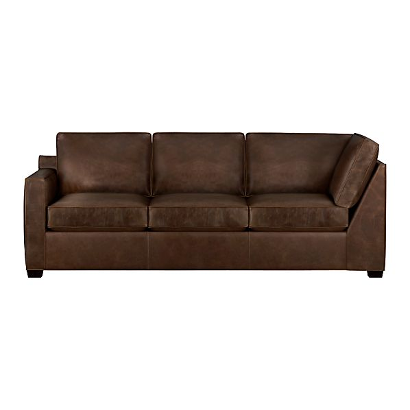 Davis Leather Left Arm Corner Sofa