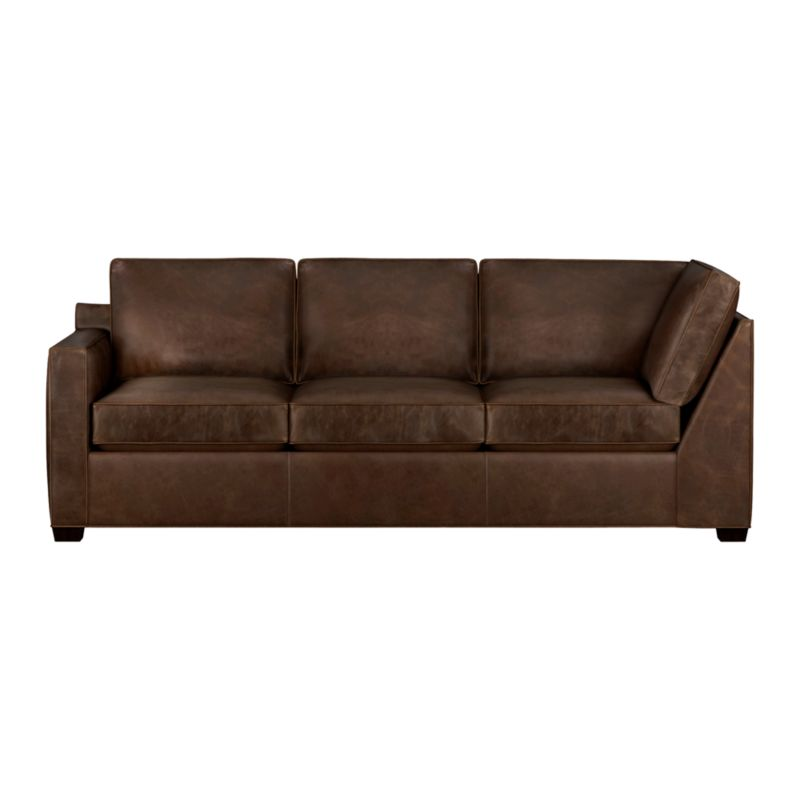 Davis is a contemporary compact leather sectional designed for contemporary real life. Every imaginable configuration is possible between these modular pieces and the companion stand-alone pieces in a full-grain aniline dyed leather, all with firm but plump support. Natural markings and an innovative tannage technique highlight the leather's natural tones and rich character. Understated hardwood legs have a rich hickory stain. Sofa group also available.<br /><br />After you place your order, we will send a leather swatch via next day air for your final approval. We will contact you to verify both your receipt and approval of the leather swatch before finalizing your order.<br /><br /><NEWTAG/><ul><li>Eco-friendly construction</li><li>Certified kiln-dried hardwood frame</li><li>Seat cushions are multilayer soy- or plant-based polyfoam wrapped in fiber down blend encased