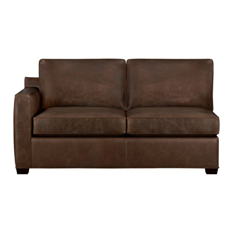 Davis is a contemporary compact leather sectional designed for contemporary real life. Every imaginable configuration is possible between these modular pieces and the companion stand-alone pieces in a full-grain aniline dyed leather, all with firm but plump support. Natural markings and an innovative tannage technique highlight the leather's natural tones and rich character. Understated hardwood legs have a rich hickory stain. Sofa group also available.<br /><br />After you place your order, we will send a leather swatch via next day air for your final approval. We will contact you to verify both your receipt and approval of the leather swatch before finalizing your order.<br /><br /><NEWTAG/><ul><li>Eco-friendly construction</li><li>Certified kiln-dried hardwood frame</li><li>Seat cushions are multilayer soy- or plant-based polyfoam wrapped in fiber down blend encased in ticking</li><li>Flexolator spring suspension</li><li>Back cushions are fiber encased in ticking</li><li>Self-welt detail</li><li>Upholstered in full-grain aniline dyed leather</li><li>Benchmade</li><li>See additional frame options below</li><li>Made in North Carolina, USA</li></ul>