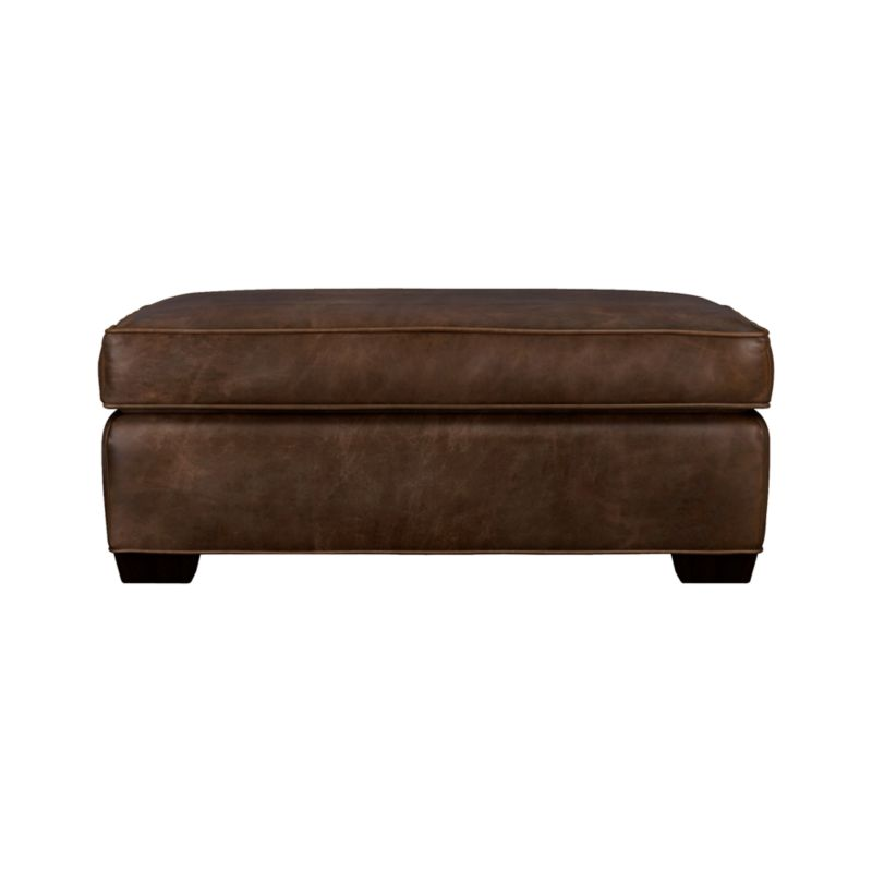 The Davis leather ottoman and a half is scaled extra-wide. Pair it with its companion chair and a half for the ultimate lounge or let it go solo in a foyer, by a window or at the foot of a bed. Natural markings and an innovative tannage technique highlight the natural tones and rich character of the full-grain aniline dyed leather. Understated hardwood legs have a rich hickory stain.<br /><br />After you place your order, we will send a leather swatch via next day air for your final approval. We will contact you to verify both your receipt and approval of the leather swatch before finalizing your order.<br /><br /><NEWTAG/><ul><li>Eco-friendly construction</li><li>Certified kiln-dried hardwood frame</li><li>Cushion is multilayer soy- or plant-based polyfoam wrapped in fiber down blend encased in ticking</li><li>Flexolator spring suspension</li><li>Self-welt detail</li><li>Upholstered in full-grain aniline dyed leather</li><li>Benchmade</li><li>See additional frame options below</li><li>Made in North Carolina, USA</li></ul>
