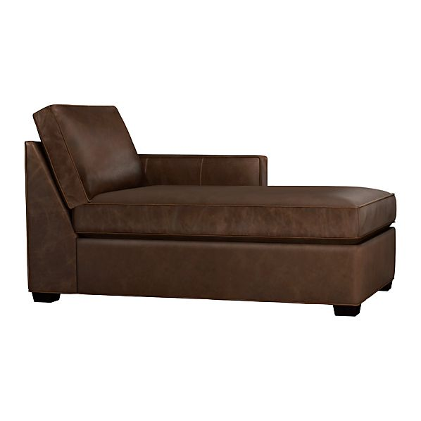 Davis Leather Right Arm Chaise Cashew Crate And Barrel