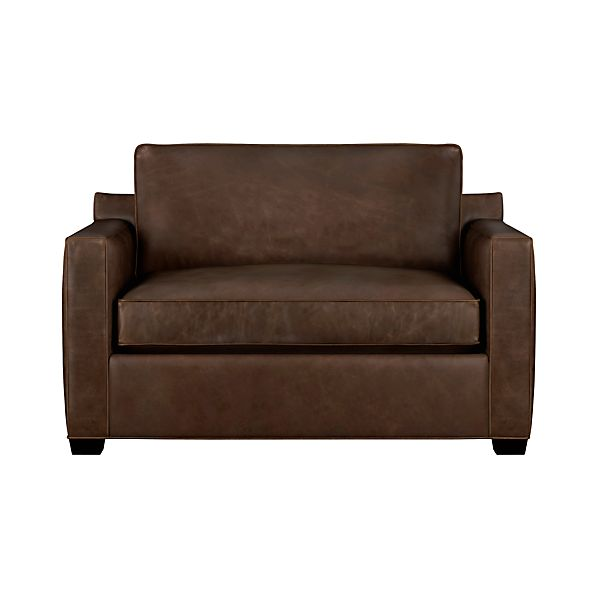 Davis Leather Twin Sleeper Sofa Cashew