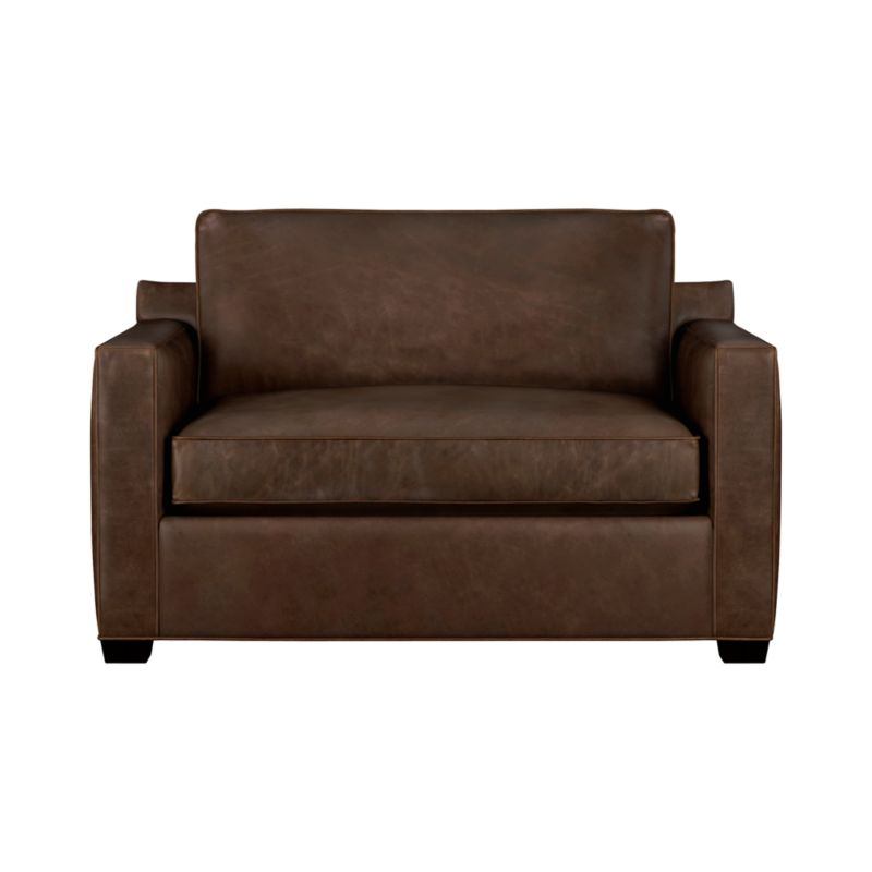 "The Davis leather twin sleeper is a blend of oversized armchair and contemporary compact sleeper designed for contemporary real life. Pair it with its companion stand-alone or sectional pieces in a full-grain aniline dyed leather, all with firm but plump support. Natural markings and an innovative tannage technique highlight the leather's natural tones and rich character. Understated hardwood legs have a rich hickory stain.<br /><br />After you place your order, we will send a leather swatch via next day air for your final approval. We will contact you to verify both your receipt and approval of the leather swatch before finalizing your order.<br /><br /><NEWTAG/><ul><li>Eco-friendly construction</li><li>Certified kiln-dried hardwood frame</li><li>Seat cushion is multilayer soy- or plant-based polyfoam wrapped in fiber down blend encased in ticking</li><li>5.5"" bi-fold innerspring mattress</li><li>Back cushion is fiber encased in ticking</li><li>Self-welt detail</li><li>Davis sofa sleepers open to a depth of 89""</li><li>Low-profile tilt head rest</li><li>Upholstered in full-grain aniline dyed leather</li><li>Benchmade</li><li>See additional frame options below</li><li>Made in North Carolina, USA</li></ul>"