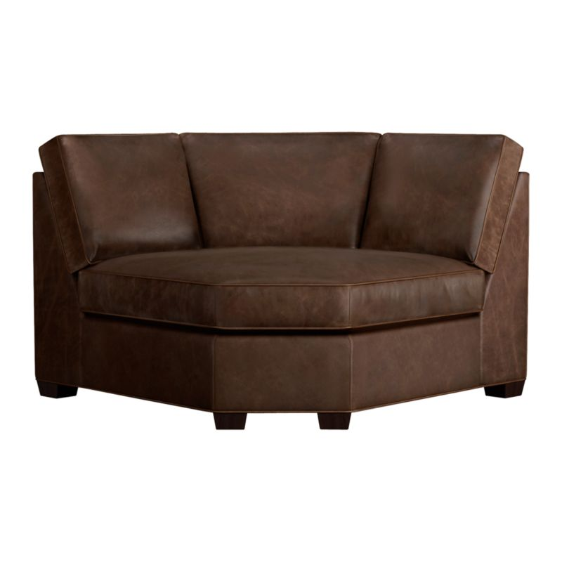 Davis is a contemporary compact leather sectional designed for contemporary real life. Every imaginable configuration is possible between these modular pieces and the companion stand-alone pieces in a top-grain, full-aniline dyed leather, all with firm but plump support. Natural markings and an innovative tannage technique highlight the leather's natural tones and rich character. Understated hardwood legs have a rich hickory stain. Sofa group also available.<br /><br />After you place your order, we will send a leather swatch via next day air for your final approval. We will contact you to verify both your receipt and approval of the leather swatch before finalizing your order.<br /><br /><NEWTAG/><ul><li>Eco-friendly construction</li><li>Certified kiln-dried hardwood frame</li><li>Seat cushion is multilayer soy- or plant-based polyfoam wrapped in fiber down blend encased in ticking</li><li>Flexolator spring suspension</li><li>Back cushion is fiber encased in ticking</li><li>Self-welt detail</li><li>Upholstered in full-aniline dyed leather</li><li>Benchmade</li><li>See additional frame options below</li><li>Made in North Carolina, USA</li></ul>