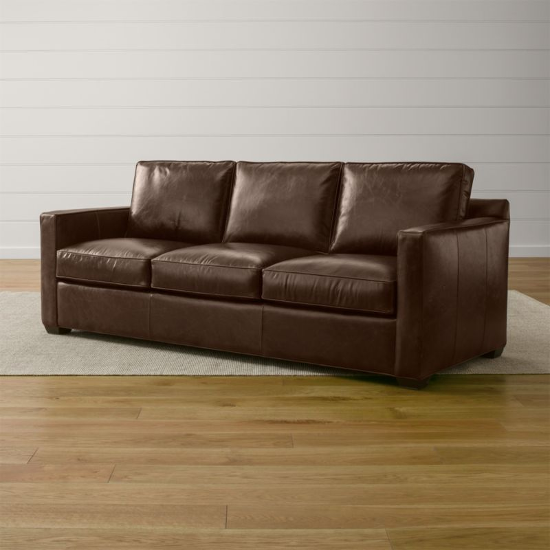davis leather 3 seat sleeper sofa cashew crate and barrel