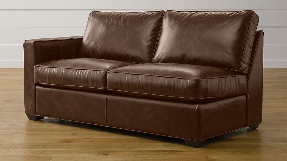 Davis Leather Left Arm Full Sleeper Sofa