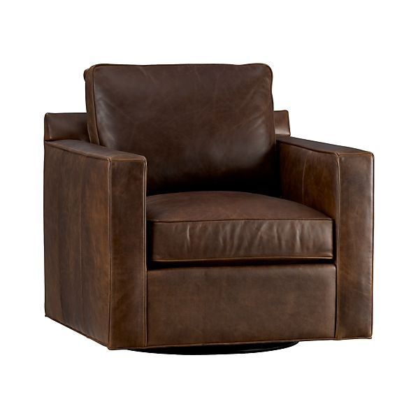 Davis Leather Swivel Chair Cashew Crate And Barrel