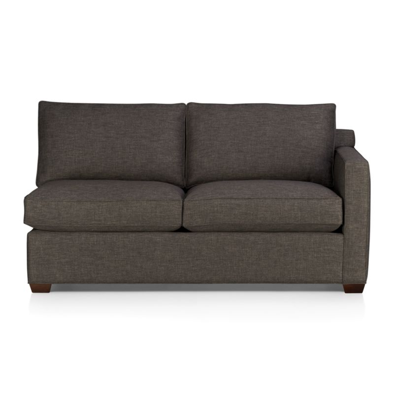 Davis is a contemporary compact sectional designed for contemporary real life. Every imaginable configuration is possible between these modular pieces and the companion stand-alone pieces, all with firm but plump support. Upholstered in a rich tonal charcoal weave, they stand up to high traffic. Understated hardwood legs have a rich hickory finish. Sofa group also available.<br /><br />After you place your order, we will send a fabric swatch via next day air for your final approval. We will contact you to verify both your receipt and approval of the fabric swatch before finalizing your order.<br /><br /><NEWTAG/><ul><li>Eco-friendly construction</li><li>Certified kiln-dried hardwood frame</li><li>Seat cushions are multilayer soy- or plant-based polyfoam wrapped in fiber down blend encased in downproof ticking</li><li>Flexolator