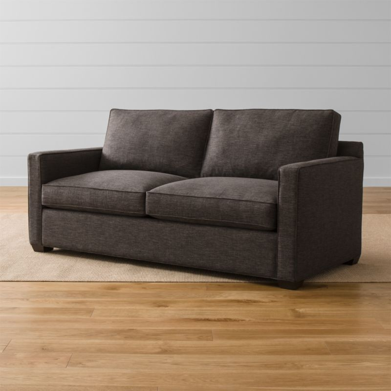 """Davis is designed to sit big in small spaces at an affordable price. Upright, yet comfortable, this versatile queen sleeper sofa is always ready for company in family rooms, casual living rooms, lofts, extra bedrooms and offices. <NEWTAG/><ul><li>Frame is benchmade in the USA with certified sustainable hardwood that's kiln-dried to prevent warping</li><li>Soy-based polyfoam seat cushions wrapped in fiber-down blend and encased in downproof ticking</li><li>Fiber-down back cushions encased in downproof ticking</li><li>5½"""" innerspring mattress with plush top</li><li>Allergy-free, odorless, mildew-resistant mattress core</li><li>Low-profile tilt headrest</li><li>Self-welt detail</li><li>Hardwood legs finished with a hickory brown stain</li><li>Material origin: see swatch</li><li>Made in North Carolina, USA</li></ul><br />"""