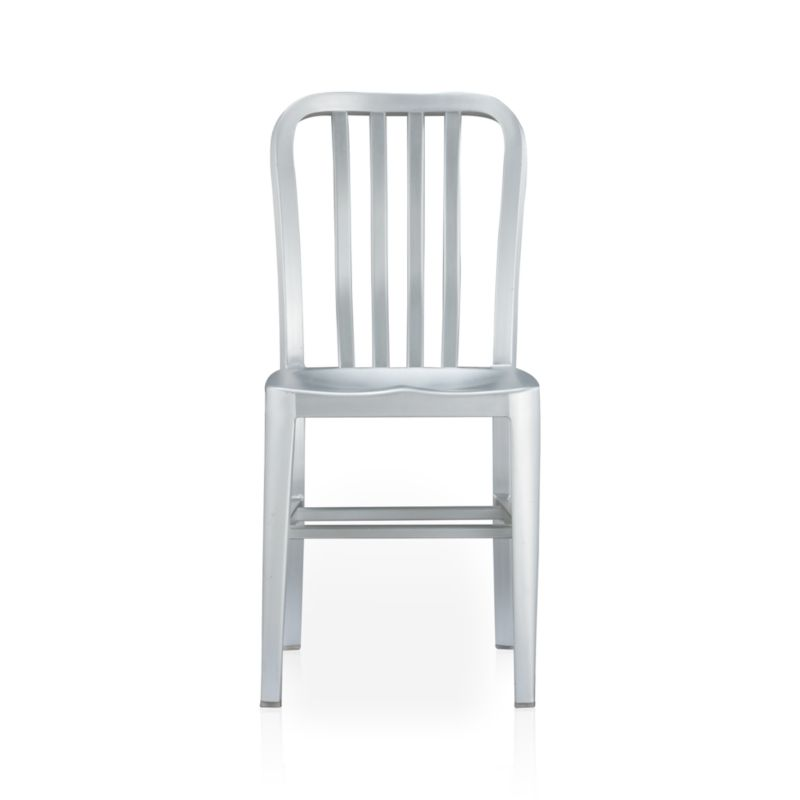 A sleek anodized finish on aluminum makes for a polished perch with contoured back and seat.<br /><br /><NEWTAG/><ul><li>Anodized aluminum</li><li>Sculpted seat</li><li>Curved back with vertical rungs</li><li>Made in China</li></ul>