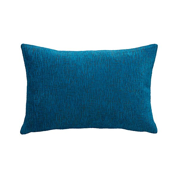 "Devin Blue 18""x12"" Pillow with Feather-Down Insert"
