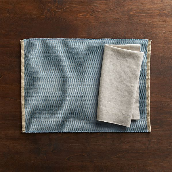 Diablo Blue Placemat and Helena Dark Natural Linen Napkin