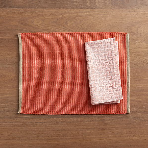 Diablo Orange Placemat and Vie Block Print Napkin