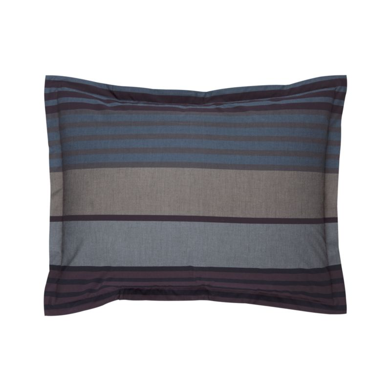 "Layer the bed in a handsome, horizontal chambray multi-stripe in rich tones of blue, grey and plum. Pillow shams have a 1"" flange and generous overlapping back closure. Cotton percale is combed to reduce pilling.<br /><br /><NEWTAG/><ul><li>100% combed cotton percale</li><li>200-thread-count</li><li>Machine wash</li></ul><br />"