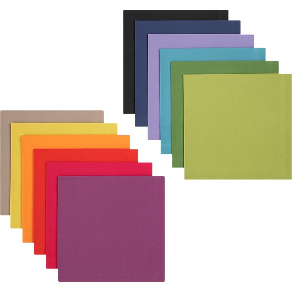 Set of 12 Multicolored Dinner Napkins