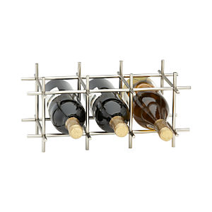 Division Nickel Six-Bottle Wine Rack