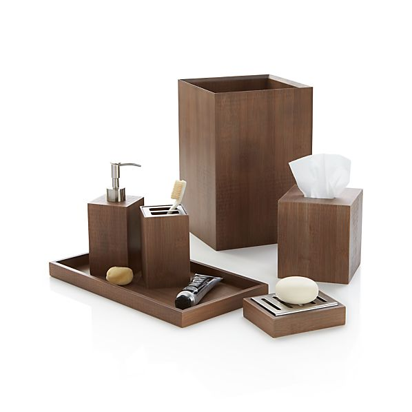 Bathroom Set With Tray : Dixon bamboo bath accessories crate and barrel