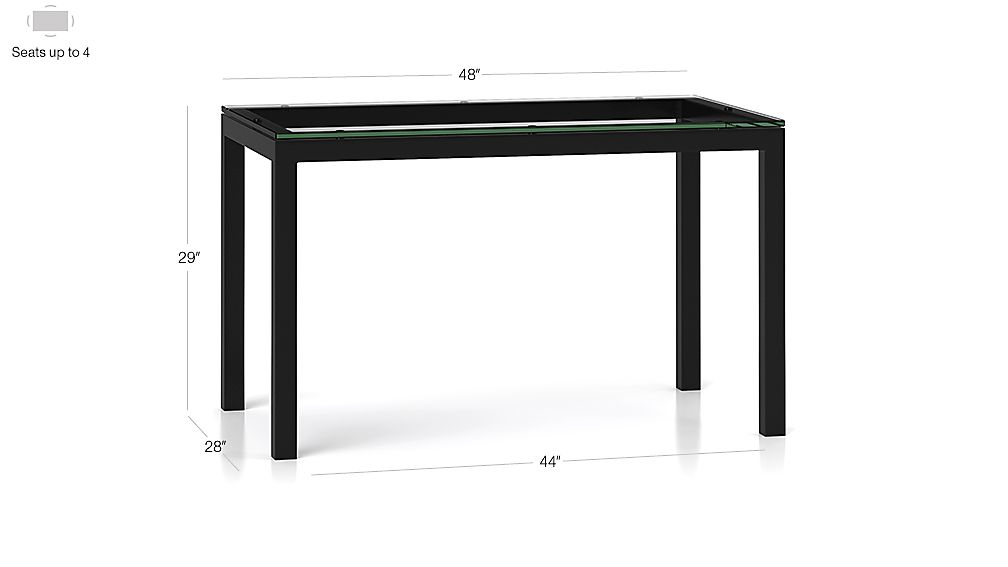 Clear Glass Top/ Natural Dark Steel Base 48x28 Parsons Dining Table Dimensions
