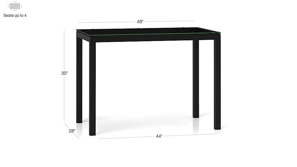 Clear Glass Top/ Natural Dark Steel Base 48x28 Parsons High Dining Table Dimensions