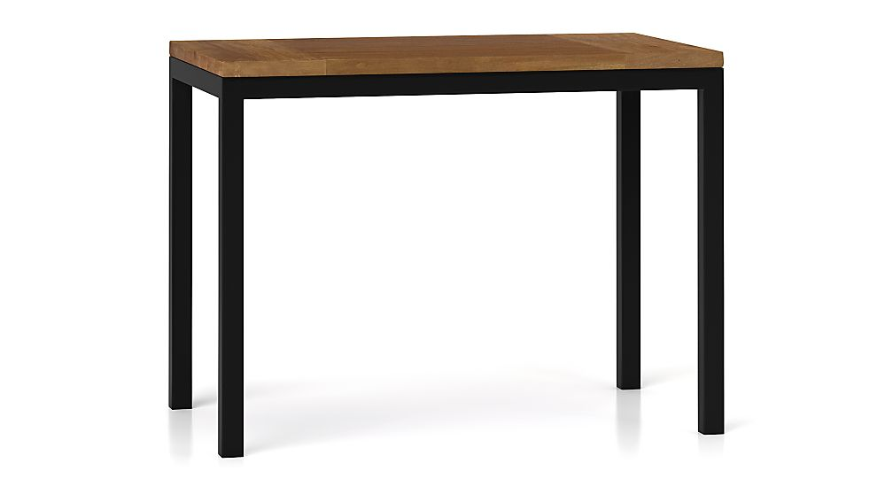 Teak Top/ Natural Dark Steel Base 48x28 Parsons High Dining Table