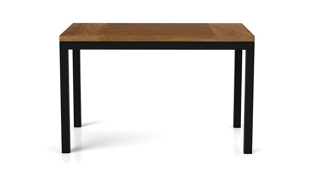 Teak Top/ Natural Dark Steel Base 60x36 Parsons Dining Table