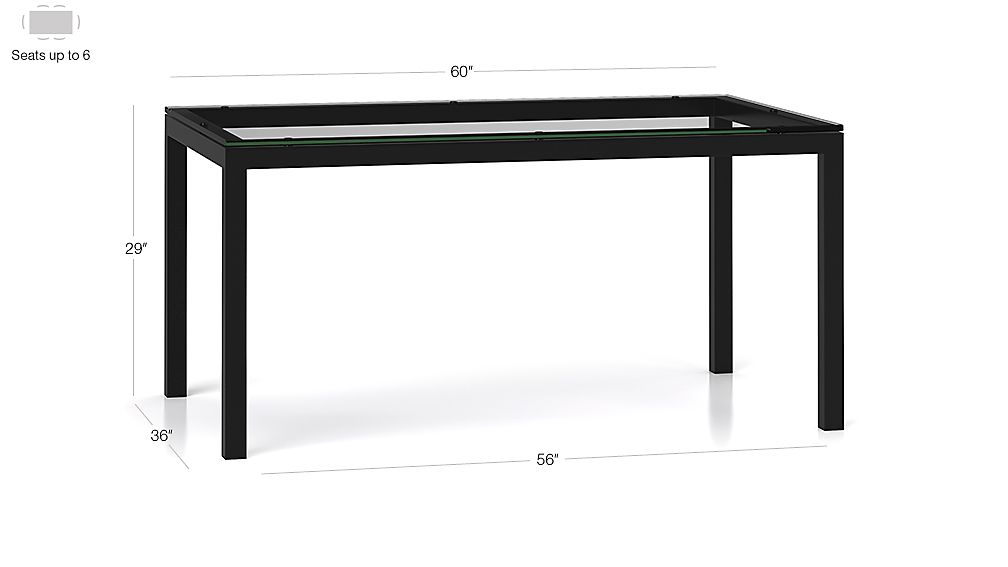 Clear Glass Top/ Natural Dark Steel Base 60x36 Parsons Dining Table Dimensions