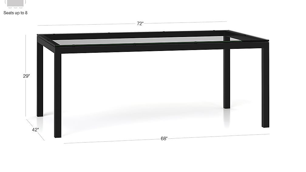Clear Glass Top/ Natural Dark Steel Base 72x42 Parsons Dining Table Dimensions