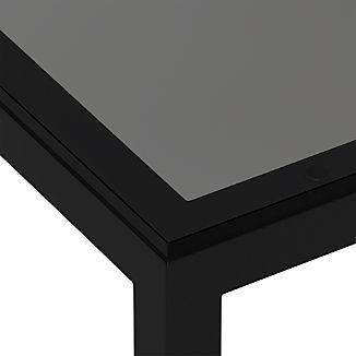 Grey Glass Top/ Dark Steel Base Parsons Dining Tables