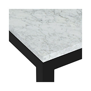 Marble Top/ Dark Steel Base Parsons Dining Tables