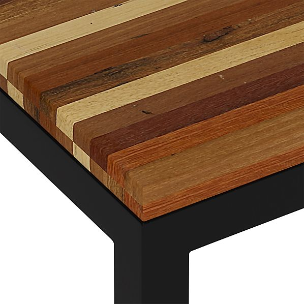 Reclaimed Wood Top/ Natural Dark Steel Base Parsons Dining Tables