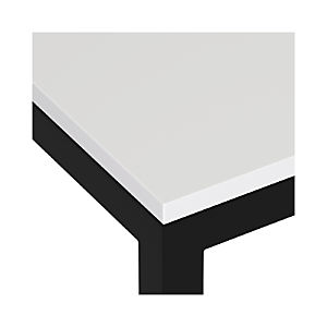 White Top/ Natural Dark Steel Base Parsons Dining Tables