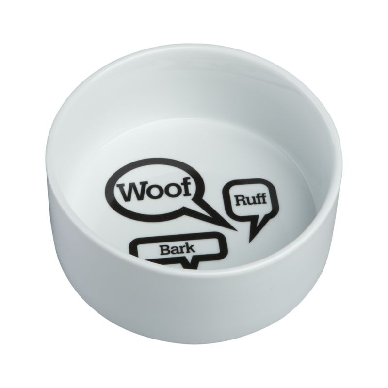 Dog conversation bubbles add a touch of humor to your pet's feeding station.<br /><br /><NEWTAG/><ul><li>100% porcelain</li><li>Dishwasher-safe</li></ul>
