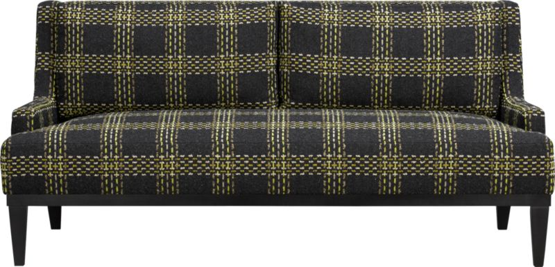Refined retro plaid adds graphic punch and nubby texture to clean contemporary sofa. Slim-lined frame makes the most of scaled-up and tweedy plaid. Plush tight seat and back cushions nestled between low-profile track arms provides cushy and spacious seating.<br /><br />After you place your order, we will send a fabric swatch via next day air for your final approval. We will contact you to verify both your receipt and approval of the fabric swatch before finalizing your order.<br /><br /><NEWTAG/><ul><li>Eco-friendly construction</li><li>Certified sustainable, kiln-dried hardwood frame</li><li>Back and seat cushions are soy-based polyfoam with feather-down blend encased in downproof ticking</li><li>Sinuous wire spring suspension</li><li>Upholstery fabric is acrylic-cotton blend</li><li>Hardwood legs</li><li>Benchmade</li><li>Made in North Carolina, USA</li></ul>