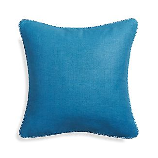 "Dorsay Blue 18"" Pillow with Feather-Down Insert"