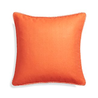 "Dorsay Orange 18"" Pillow with Feather-Down Insert"
