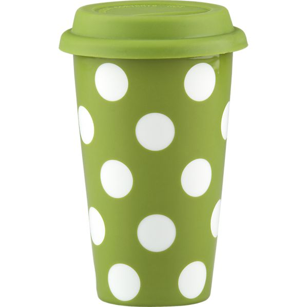 Dot Mug Green with Silicone Lid