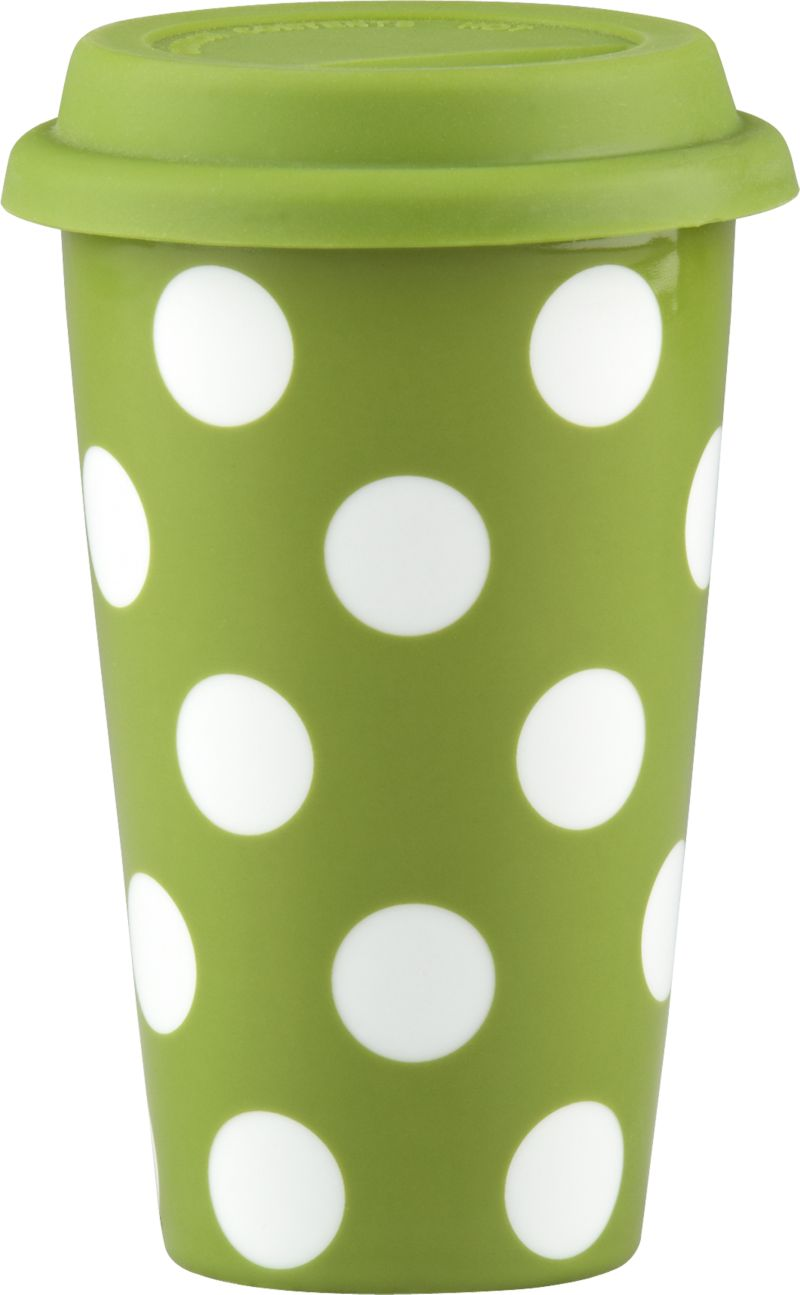 Double-walled stoneware mug with white dots on bright green has a spill-resistant silicone lid for hot or cold beverages on the go.<br /><br /><NEWTAG/><ul><li>Stoneware</li><li>Silicone lid</li><li>Microwave-safe</li><li>Hand wash for best results</li></ul>
