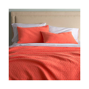 Dottie Coral Coverlet and Pillow Shams