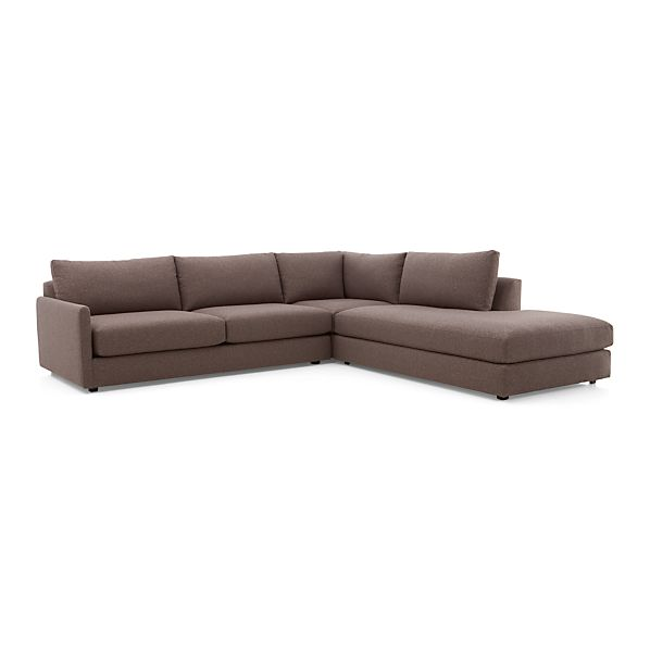 Drake 3 Piece Sectional Sofa Gravel Crate And Barrel