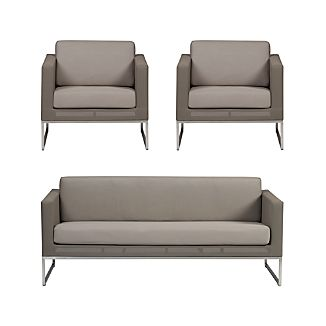 Dune 3-Piece Lounge Set with Sunbrella ® Taupe Cushions