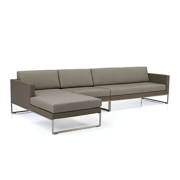 Dune 3 piece sectional sofa with sunbrella taupe for Brighton taupe 3 piece chaise and sofa set