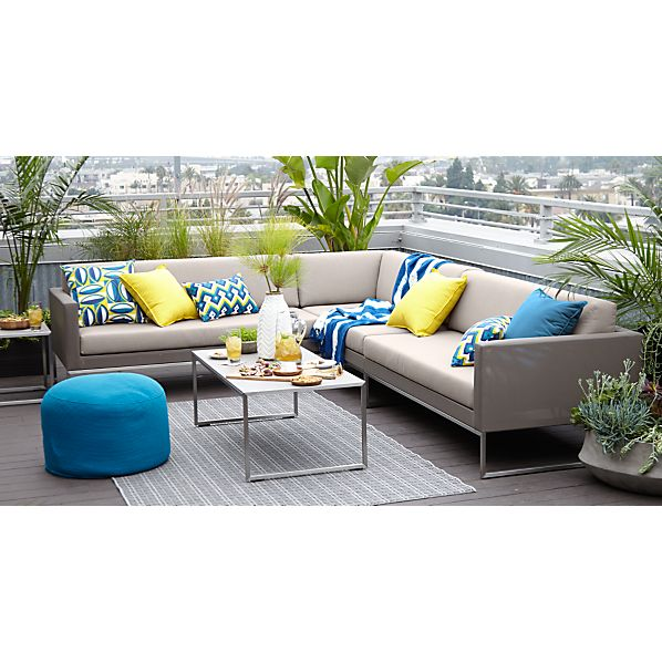 Dune 3-Piece Sectional Sofa with Sunbrella® Taupe Cushions