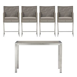 Dune Pebbled Glass 5-Piece High Dining Set